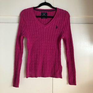Polo V-NECK ribbed knit sweater